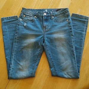 7 for All Mankind distressed light blue jeans